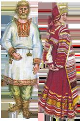 Русские народные костюмы - рубаха парень и барыня